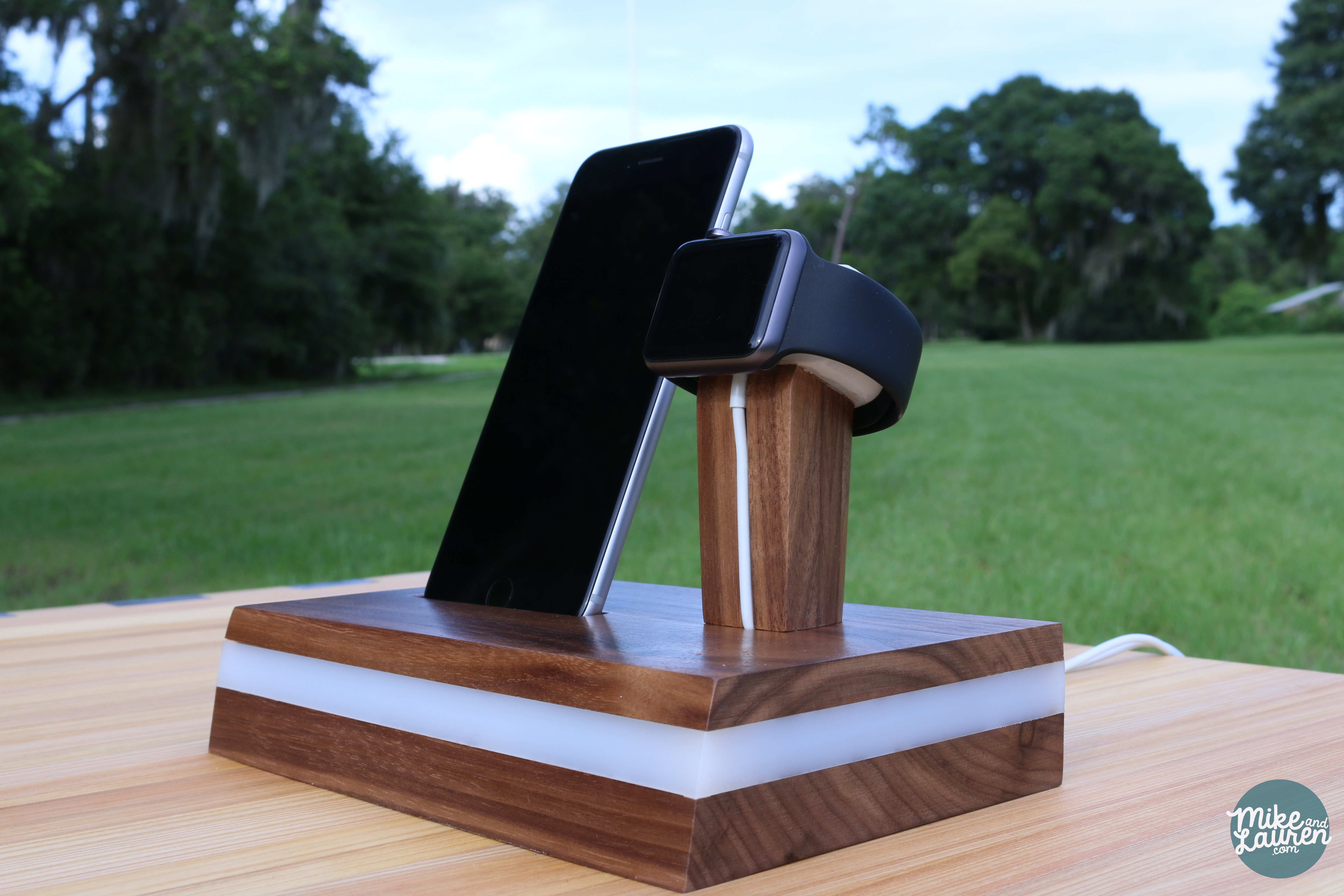 Wood Apple Watch Charging Station